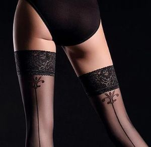 Guilia Allure Backseam Holdup Stockings in Black